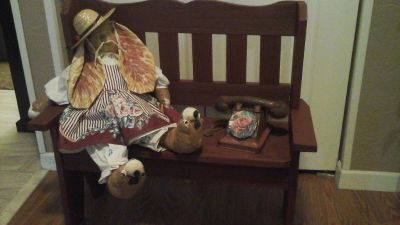 Childs Bedroom/Playroom Decor-Wooden Bench &Hand Sewn Bunny & Toy Telephone