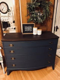 Restyled Duncan Phyfe Style Antique Bow Front Lowboy..
