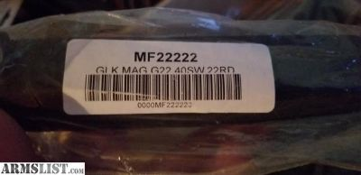 For Sale: GLOCK 40 cal 22 rnd mags