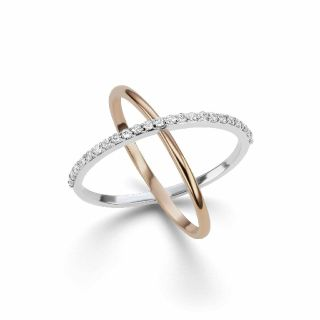 Criss Cross Diamond X Ring in 14kt Two Tone White & Rose Gold (0.25ct tw.)