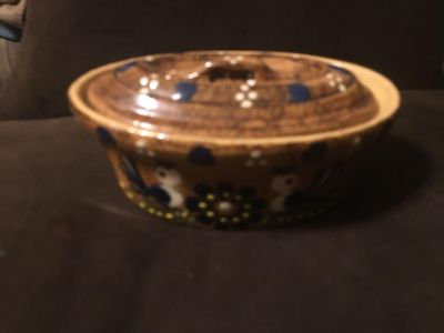 Hausswirth Soufflenheim Miniature Covered Casserole Poterie - French Pottery - marked 15 on bottom w/ name & HR Mark