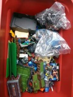 Huge lot Mega Bloks Tyco bloksK'Nex some new in the bag a lot of mixed figures some new in packa...