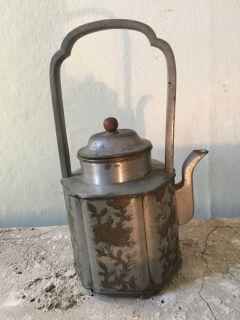 etched pewter vintage teapot