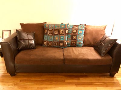 Chocolate brown suede/leather sofa set