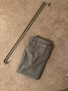 Grey blackout curtains and rod