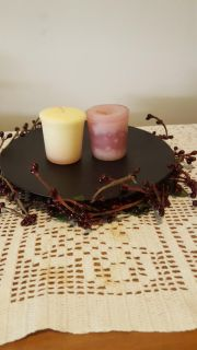 Pip berry candle ring stand and pair of candles