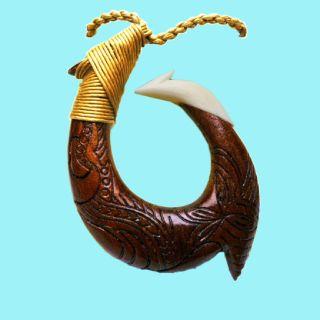 Hawaiian Koa Wood Fish hook Necklace
