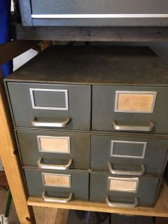 Set of three metal drawers