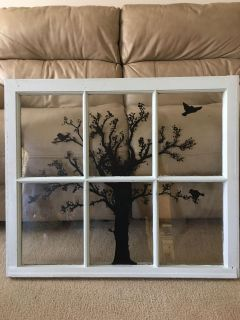 Vintage Window with hand painted tree