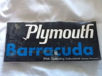Buy 1966 Plymouth Barracuda Operating Instructions (Includes Warranty paper see pic) motorcycle in Irving, Texas, United States, for US $301.65