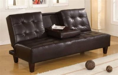 BRAND NEW! BROWN LEATHER SOFA BED SLEEPER WITH CUPHOLDER ACTION!