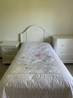 Twin Bed Headboard, Mattress, Box Spring, and Bed Skirt