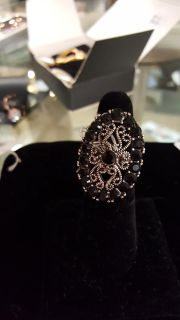 Black Oval Fashion Ring, Size 7, New