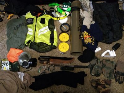 new large high vis vest several pairs tactical gloves and miceslaous gas mask mags for 40 and ni...