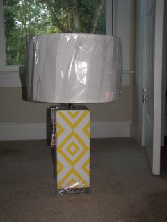 Lamp - New - Cheerful Yellow and White ceramic with lucite base