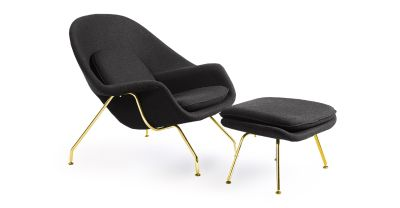 New Gold Frame Wool Lounge Chair & Ottoman Ships