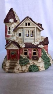 Ceramic Village Victorian Christmastime Two Story House