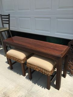 Sofa table and two benches