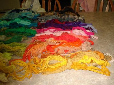 Large section of yarns