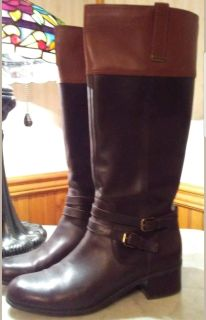 Bandolino Size 9 Two Tone Chocolate Cognac Leather Riding Boots