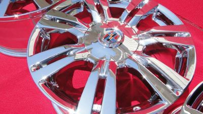 Find 2 18'' cadillac srx NEW TRIPPLE CHROME wheels rims 2012 factory oem with caps motorcycle in Garden Grove, California, US, for US $650.00