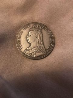 Stunning Victoria 1887 Silver Crown huge beautiful coin