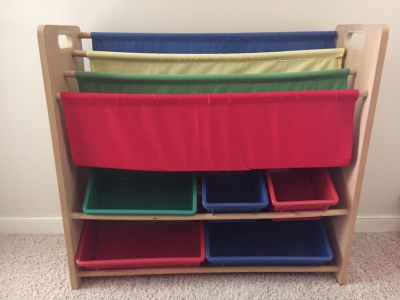 Sling Bookcase and Toy Organizer Bins