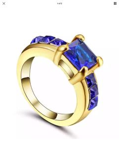 Gold filled blue cubic zirconia ring size 6 new