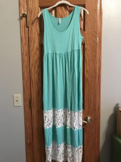 Teal and lace maternity dress XL
