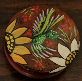Wooden Round Costa Rica Trinket Box With Lid