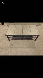 Ceramic tile and metal coffee table and end table