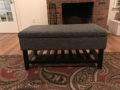 Very pretty and useful bench with storage. Black/gray tweed wool upholstery in like new condition!