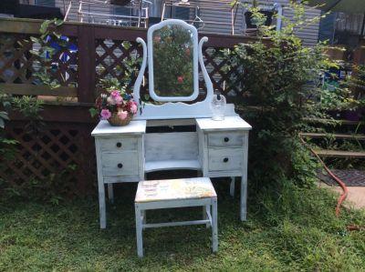 Antique Vanity, Mirror, Vanity Stool