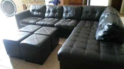 Sectional couch w foot stoolscoffee tables