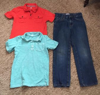 Boys size 7 jeans and two polo style shirts size 6/7