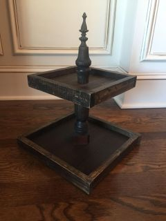 Rustic 2 tiered wood stand.