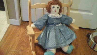 Hand Made/Sewn doll with Handmade Wooden Rocking Chair