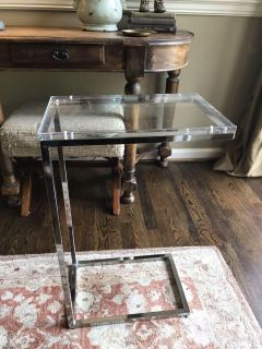 Silver and Acrylic End Table