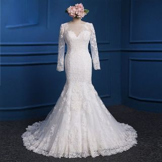 Teresa's Mermaid Lace Long Sleeve Wedding Dress