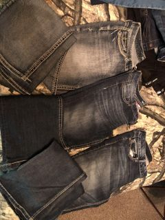 3 pair Maurice s flare bottom jeans size 15/16