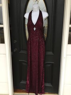 Scala Brand Maroon Beaded gown. Size L but runs small.