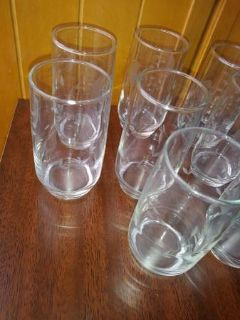 8 Etched Crystal OJ glasses or drinking glasses