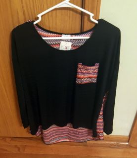 New With Tags Women's Plus Size 1X Hot Ginger Brand Striped Long Sleeve Top $10 Firm