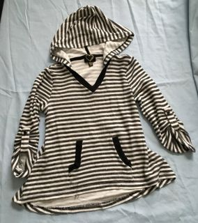 Striped gray hooded shirt size 10/12