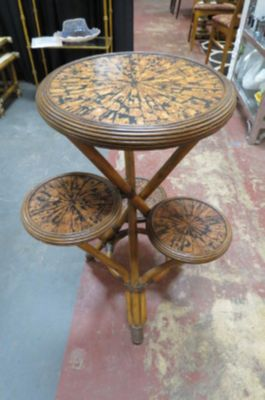 Vintage 4 tier Bamboo plant stand table, c. 1960.