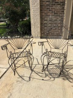 Vintage Wrought Iron Rocking Chairs