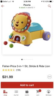 Fisher Price Ride on Lion