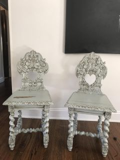 Antique French Hallway Chairs
