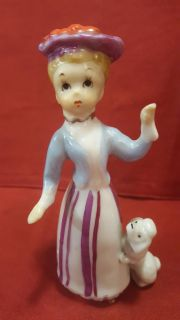 Porcelain Lady with Poodle Figurine Made in Japan