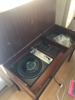 Console table with record player